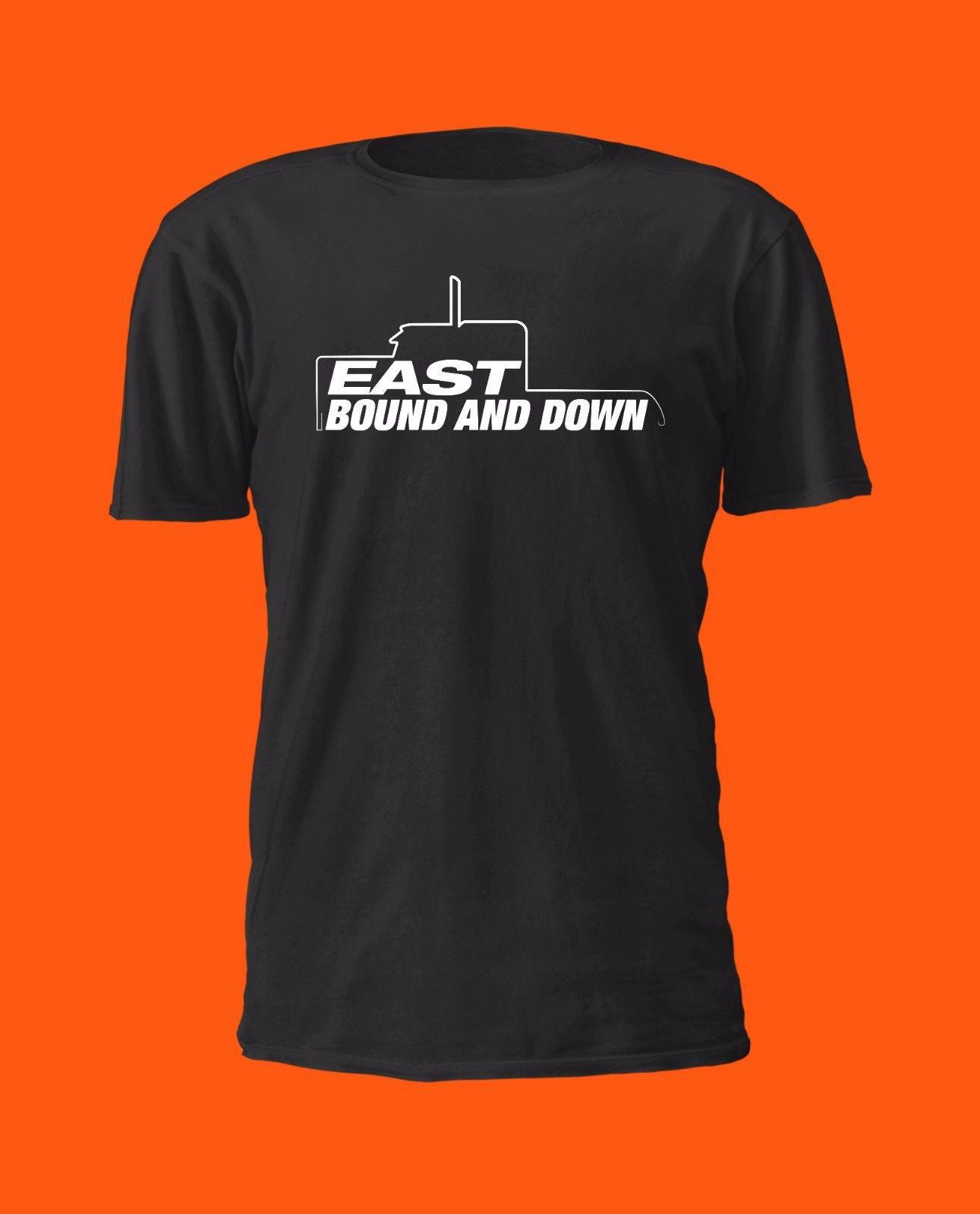 Semi Truck Silhouette East Bound and Down T Shirt - Trucking Peterbilt Mack  Funny free shipping Unisex Casual Tshirt top