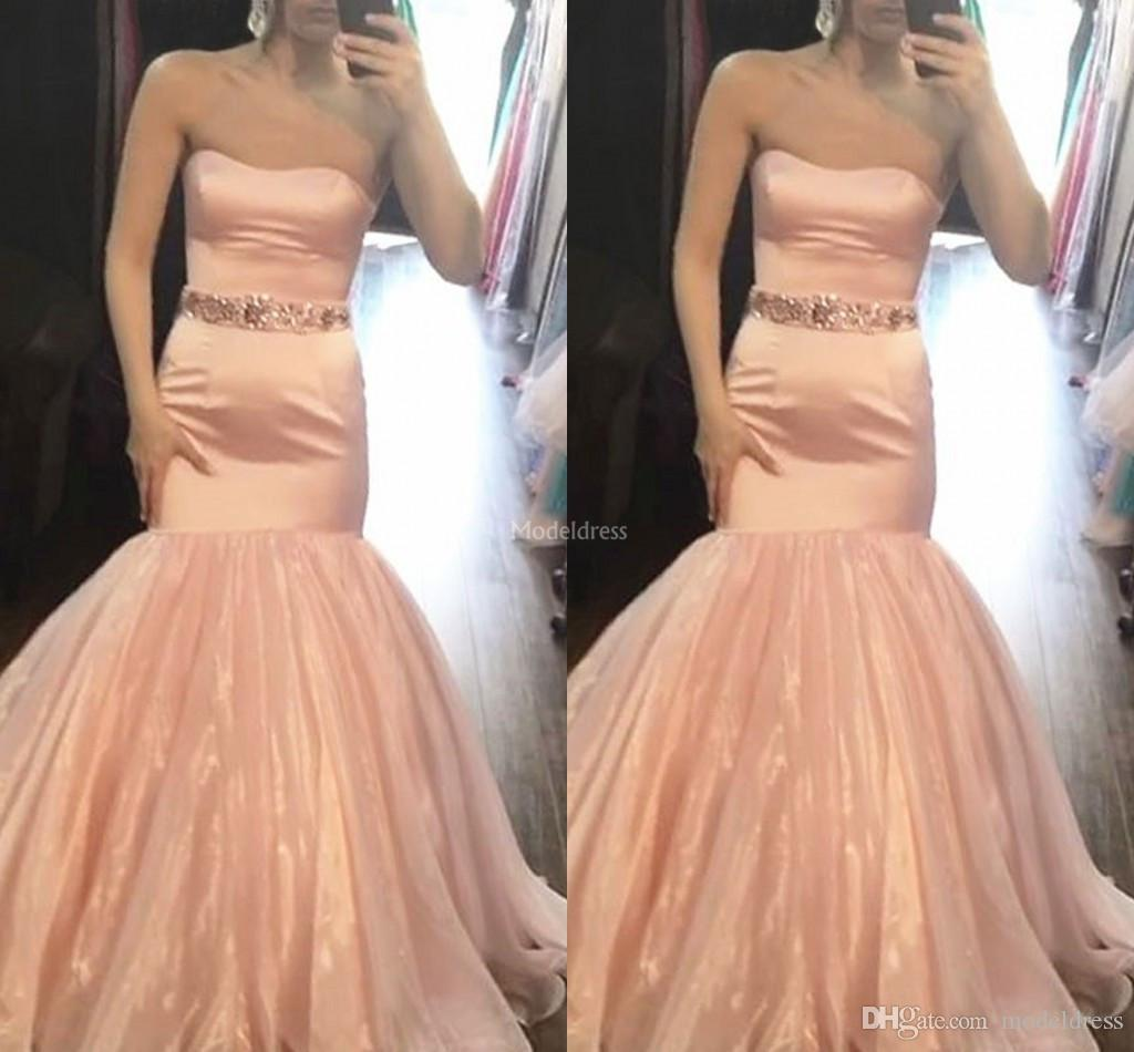 2019 Sexy Mermaid Prom Dresses Strapless Sweep Train Modern Special Occasion Dresses Unique Design Formal Party Evening Gowns Vestido Custom