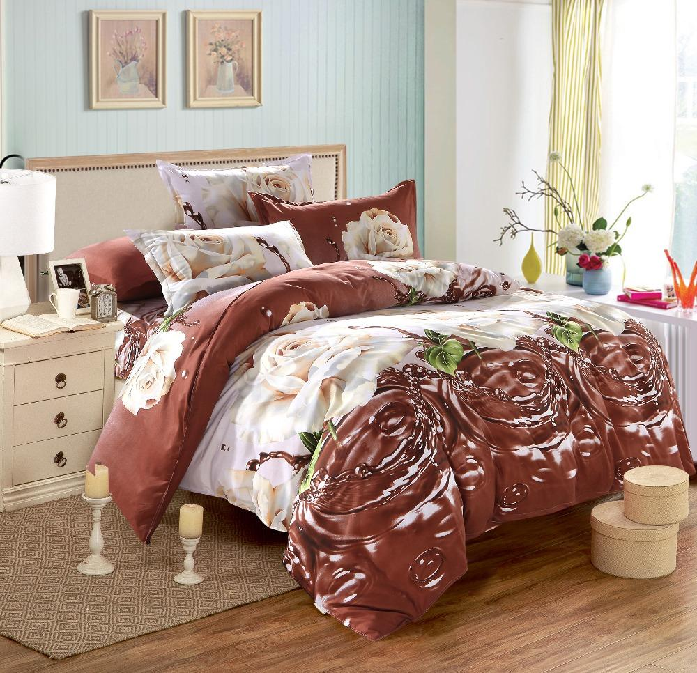 Beautiful Bedding Sets Duvet Covers Flat Sheet Pillowcases BS53 Chocolate Home Hotel Dorm Bed Set Single Double Size