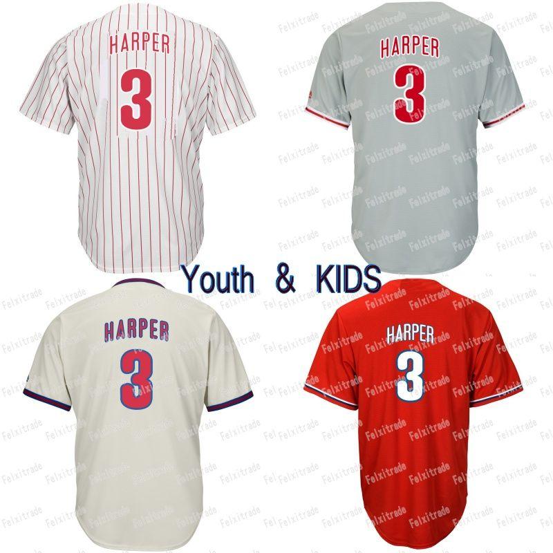 2019 Youth KIDS 3 Bryce Harper Philadelphia Baseball Jersey Odubel Herrera  Rhys Hoskins Cesar Hernandez Carlos Santana Aaron Nola Scott Kingery From  ... 90f5bd7dbce