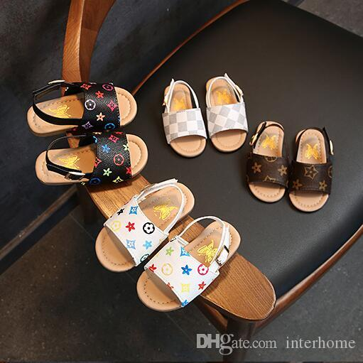 Summer Baby Sandals Kids Boys PU Slippers First Walker Shoes Non-slip Shoes Fashion Outdoor Beach Sandals Floral Printed Casual Sandal LT379