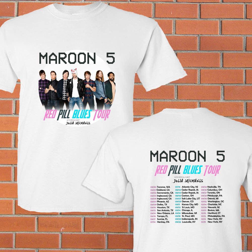 L298 Signed Adam Levine t shirt tee t-shirt autograph signature Maroon 5 Concert