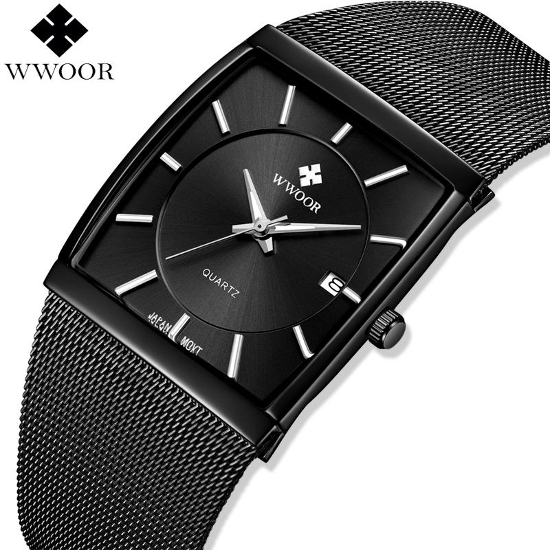e40dc76a5 Wwoor Top Brand Luxury Mens Square Quartz Watches Male Waterproof Date  Clock Black Stainless Steel Mesh Business Men Wrist Watch C19041601 Watches  Wholesale ...