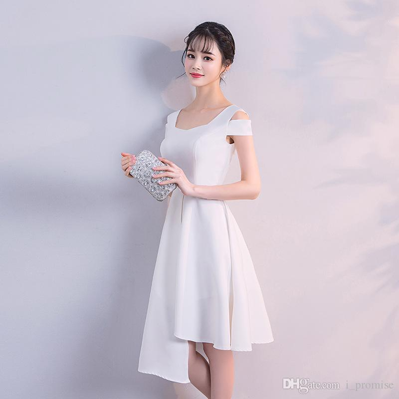 f7f50f65f93 2019 Evening Dresses White A Line Scoop Neck With Short Sleeves Knee Length  Zipper Back Short Prom Dress Cocktail Party Dresses Tartan Evening Dresses  ...