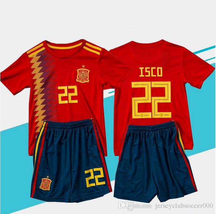 cbcd996a606 2018 world cup Spain soccer Jersey Kids Kit 2019 Spain home red Soccer  Jerseys  7 MORATA  22 ISCO Child Soccer Shirts uniform jersey+shorts