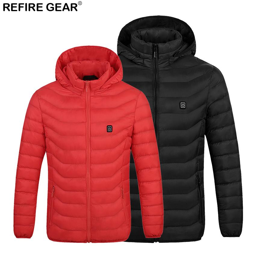 Refire Gear Mens Outdoor USB Heating Jacket Waterproof Outdoor Thermal Warm Heated Coat Camping Trekking Hiking Clothing Male