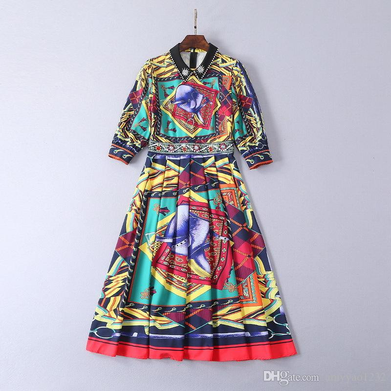 46680dccf047 2019 226 2019 Spring Summer Flora Print Dress Lapel Neck A Line Mid Calf  Long Sleeve Luxury Prom Fashion Flowers Womens Clothes SH From Amyyao1232
