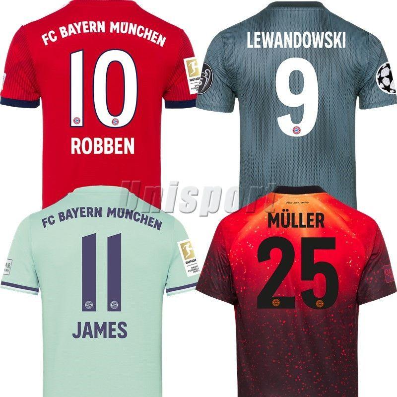 2019 2018 19 Bayern Munich Champions League Soccer Jerseys EA Sports Futbol  Camisa Lewandowski Muller James Football Camisetas Shirt Kit Maillot From  ... e47c042c0