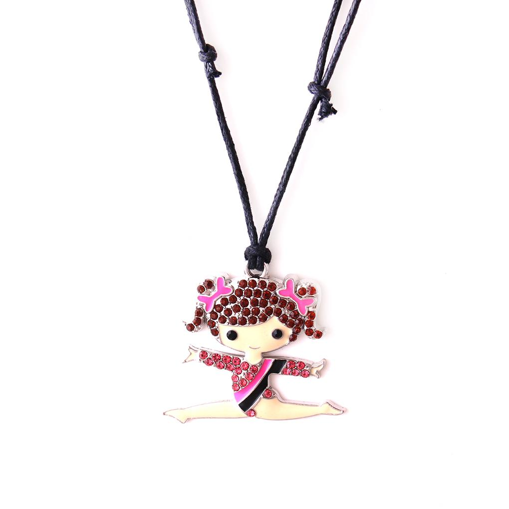 Huilin wholesale black wax rope necklaces and cute gymnastics girl with jewelry necklace with multicolor crstle jewerly pendant for gift