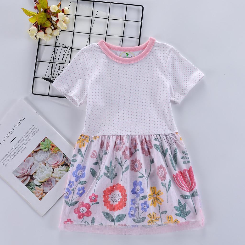 7ec8cb870a Compre Las Niñas De Color Rosa Lunares Malla Costura Vestido Estampado De  Flores Toddler Baby Girls Kid Flores De Dibujos Animados De Impresión De  Encaje ...