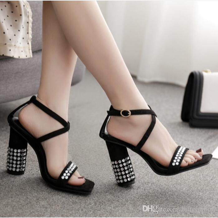 8c43b27ba17e 2019 New Sexy Flock Women Sandals Cut Outs Open Toes Summer Heels  Rhinestone Chunky Heel Buckle High Heeled Shoes 12cm Wedge Sneakers Sandal  From Bittermoon ...