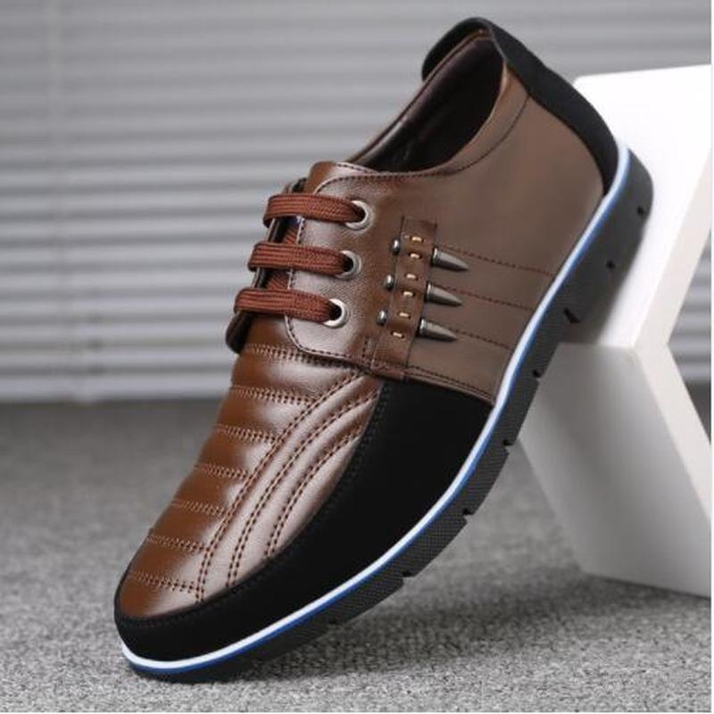 OllyMurs Men genuine leather shoes High Quality Elastic band Fashion design Solid Tenacity Comfortable Men's shoes big size