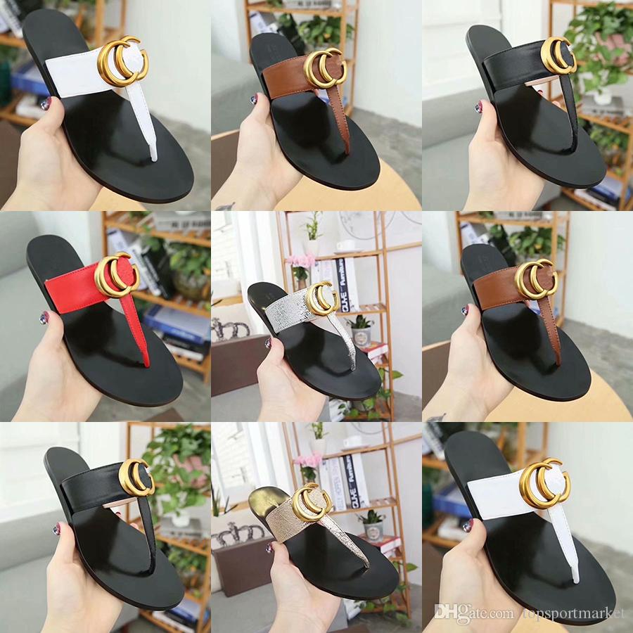 d65ba3408bd Leather Thong Sandal Women Luxury Desinger Slippers Fashion Thin ...