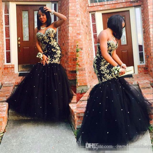 Vestidos De Baile 2018 Unique Prom Dresses Black And Gold Sweetheart
