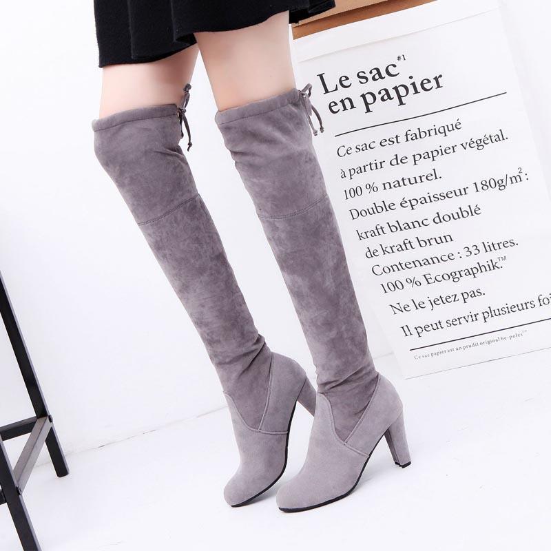 5cf81d216f82f Frauen Winterstiefel 2019 neue Frauen Schuhe Damen Oberschenkel hohe  Stiefel warme Plüsch sexy über dem Knie hohen Absatz