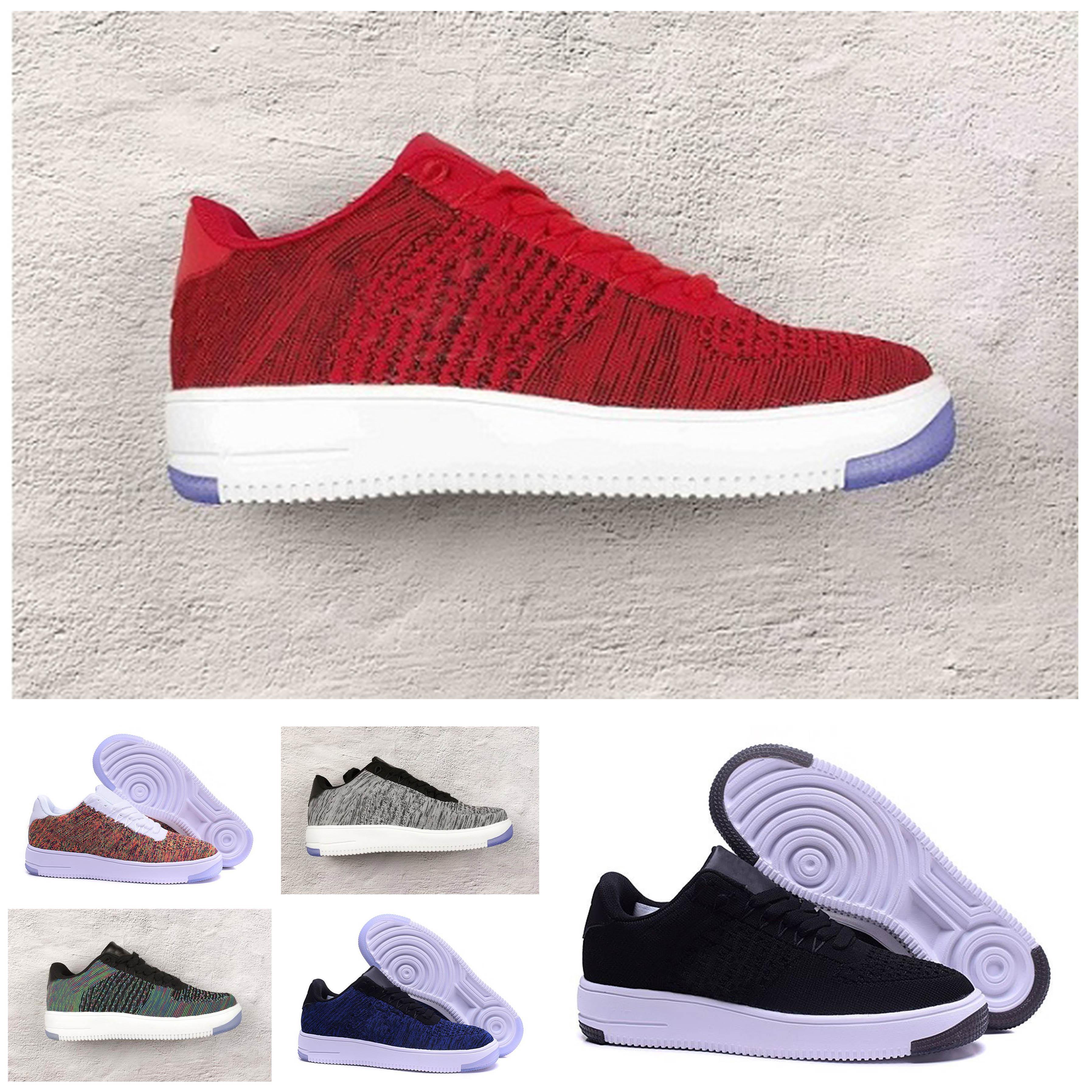 cheap for discount e5b9d 4e174 Acquista Nike Air Force One Flyknit Low Mens Running Shoes I Nuovi Uomini  Di Alta Qualità Di Moda Scarpe Da Skateboard Alto Bianco Scarpe Casual  Maglia Nera ...