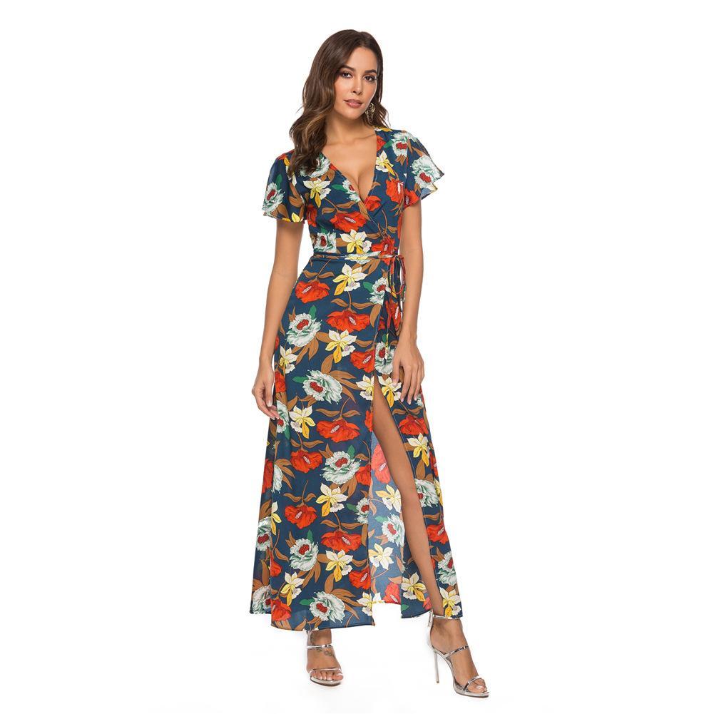 d1e496aed124d 2019 New Short Sleeve Long Chiffon Dress Women Sexy Summer Floral Print  Party Maxi Bohemian Spilt Dress
