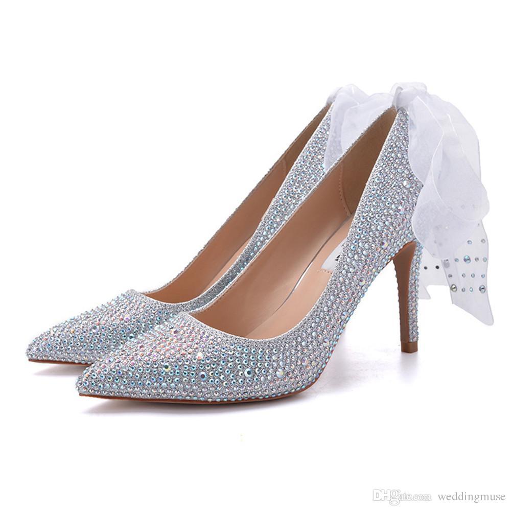 00589374 Compre Moda Cinta Cristalino Novia Boda Zapatos De Tacones Altos Plata  Estilete Individual Rhinestone Dama De Honor Banquete Zapatos De Fiesta 7  Cm A $69.35 ...