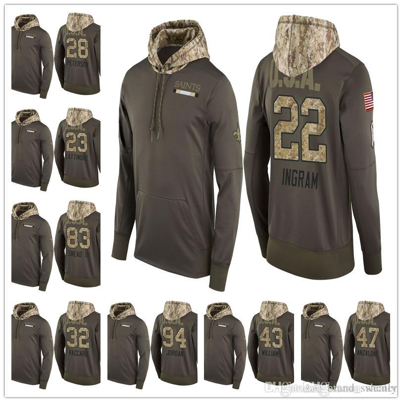 lowest price 289be 2d134 Hot Sale Men Youth Women Orleans Salute to Service Sideline Therma Pullover  Hoodie Drew Brees Michael Thomas Cameron Kenny Vaccaro