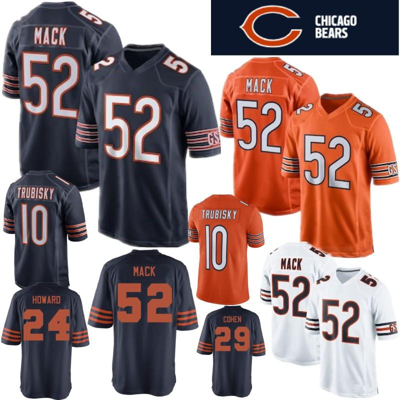 buy online c8886 6dc83 Chicago 52 Khalil Mack Bears Jersey 34 Walter Payton 10 Mitchell Trubisky  17 nthony Miller 58 Roquan Smith 29 Tarik Cohen Stitched Jerseys