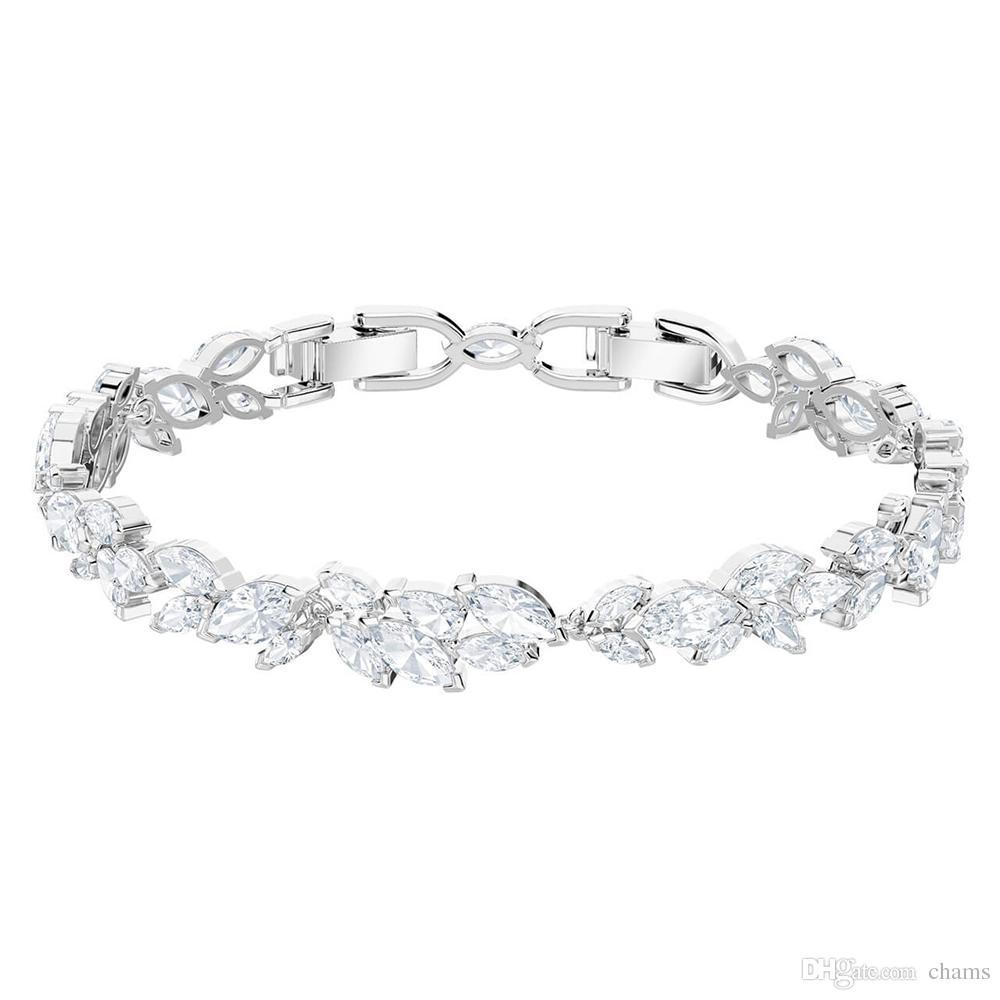 e9502c3d0 Swarovski LOUISON White Gold Bracelet Fashion Fresh Temperament Diamond  Leaf Bracelet Female Platinum Gift Recommended 5419244 Wholesale Jewelry  Charm ...