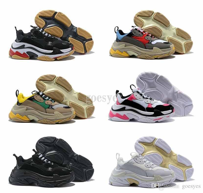 the best attitude 35805 4c617 Acheter 2019 Men Shoes Triple S Sneakers Run Chaussures Paris 17W Triple S  Sneaker Triple S Casual Papa De Luxe Chaussures Pour Hommes Femmes Blanc  Noir ...