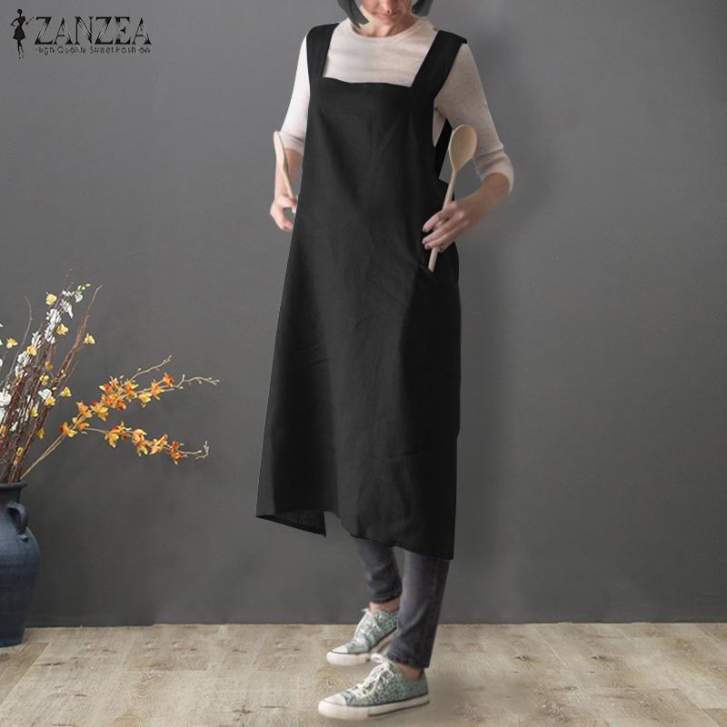 4b03b2f89fa8 Acquista 2019 Estate ZANZEA Abito In Lino Di Cotone Donna Senza Maniche  Solid Vestido Vestido Da Cucina Casual Grembiule Da Donna Abito Da Donna A   20.47 ...
