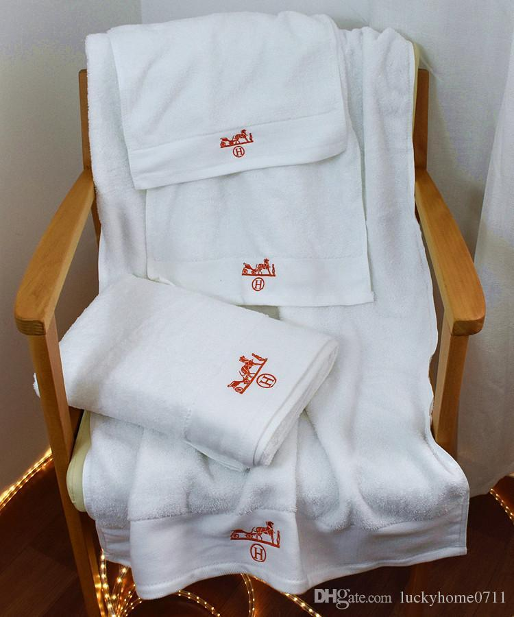 Luxury Bath Towels Set Designer Classic Embroidered Square Towel