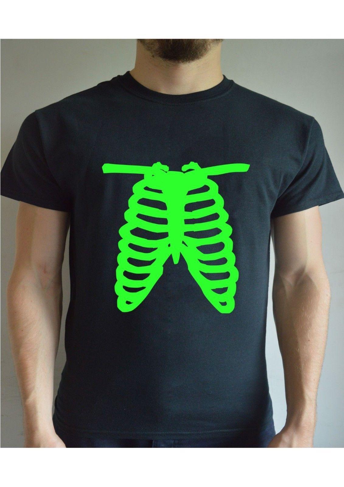 c81af3f5 Skeleton Ribs Fluorescent Printed T Shirt Funny Joke Gift Present Mens Crew  100% Cotton Casual Printing Short Sleeve Men T Shirt Print Shirts Print T  Shirt ...