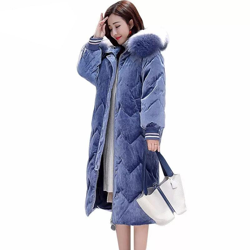 6a2f18aec1094 2019 20 Degrees 2018 Winter Women Parka Plus Size Hooded Velvet Fur Collar Quilted  Coat Long Puffer Jacket Thick Warm Cotton Outwear From Tayler