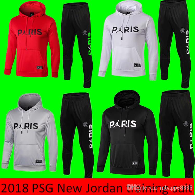 online store 62bf7 f2dbd 2019 New PSG Hooded tracksuit sets 2020 Paris Hooded soccer jacket  Fluorescent green PSG football jacket kit soccer jerseys