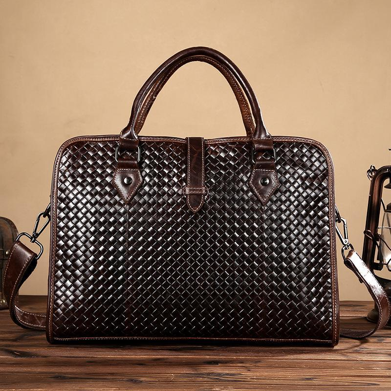 Vintage Weave Natural First Layer Cow Leather Men Handbags Brand Fashion  Design Laptop Bag Genuine Leather Business Briefcase Online with   99.87 Piece on ... 4b808a9ee91c5