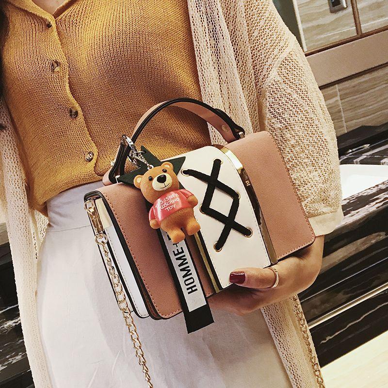 8f0821b33f50 2019 Fashion New Handbags Quality Scrub Pu Leather Women Bag Retro  Stitching Hit Color Chain Bag Ladies Portable Shoulder Bag Cheap Designer  Bags Mens ...