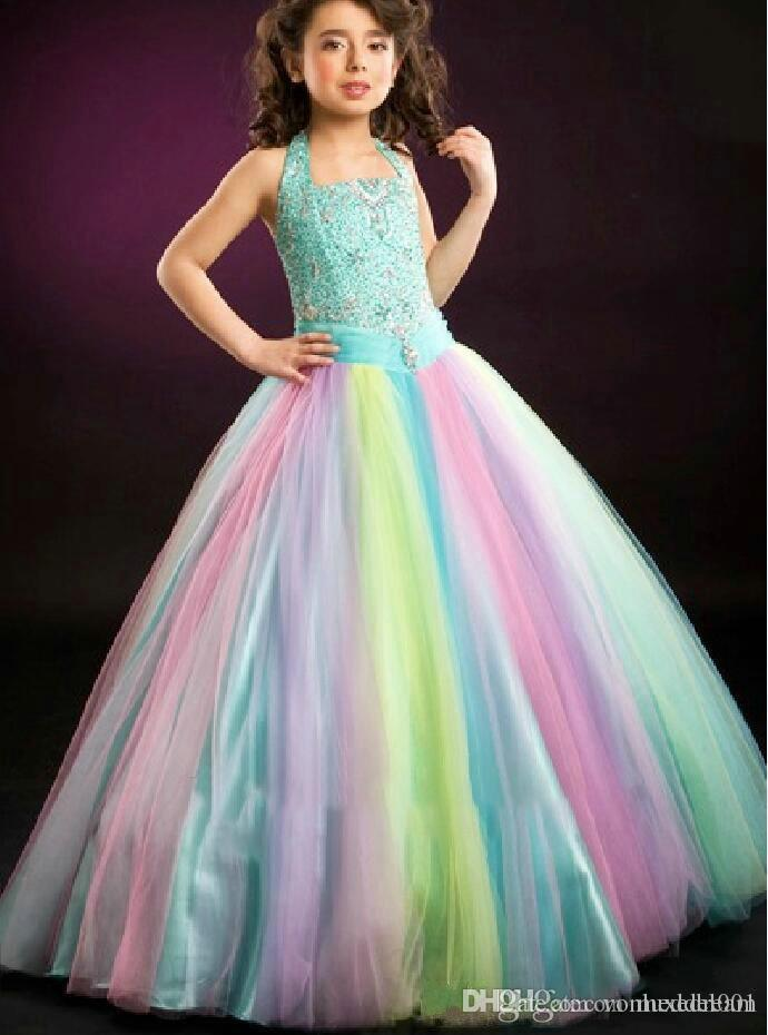 Gradient Girl's Pageant Dresses Ball Gown Tulle Rainbow Color Floor Length Crystals Sequins Beading Kids Prom Dresses 2019 Custom Made