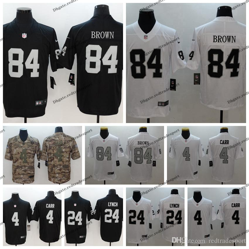 brand new d7d98 9b533 2019 Camo Salute to Service Oakland Brown Raiders 84 Antonio Brown 24  Marshawn Lynch 4 Derek Carr Football Jerseys