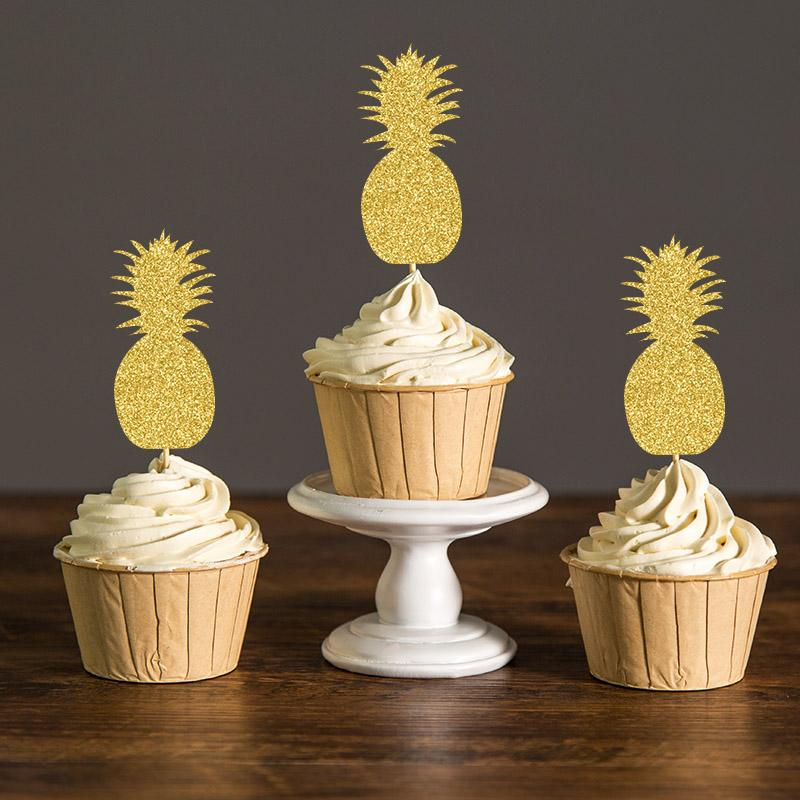 2019 Gold Silver Black Gliter Pineapple Cupcake Toppers Hawaiian Themed Bridal Shower Summer Pool Party Favors Decorations Cake Picks From Sophine09