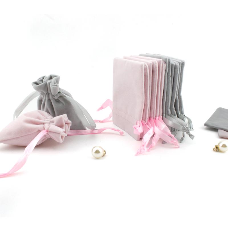 Personalized Flannel Jewelry Packaging Ribbon Drawstring Chic Velvet Pouch for Wedding Favor Gift Bags