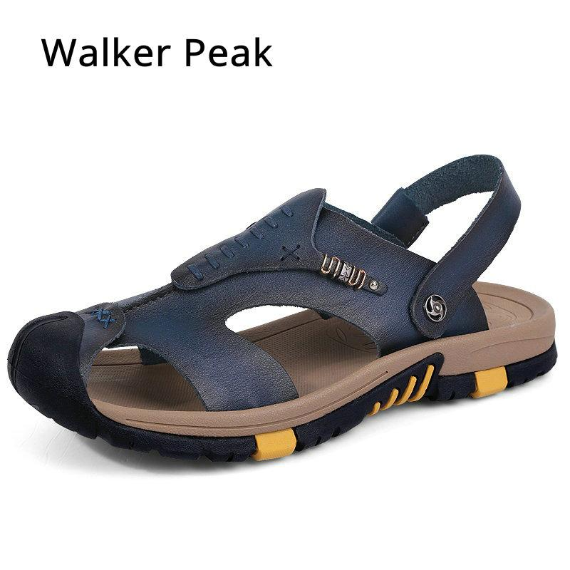 DEKESEN 2018 Mens Sandals Genuine Leather Summer Shoes New Beach Men Casual Shoes Outdoor Sandals for man Size 38-44