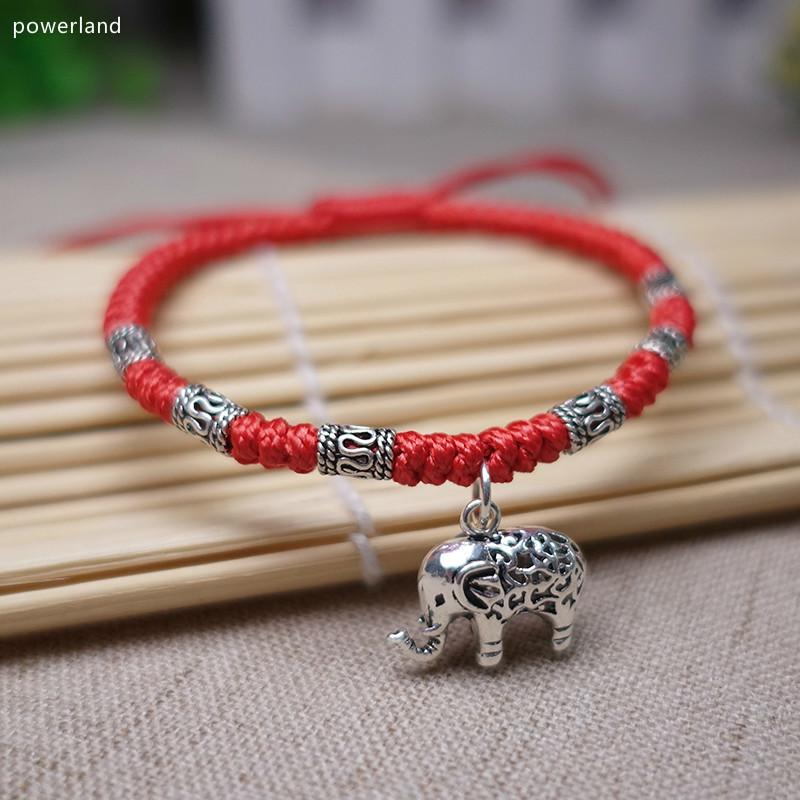 Real 925 Sterling Silver Lucky Elephant Red Bracelet For Women Bangle Wax String Amulet Friendship Gift Handmade Jewelry Y19051002