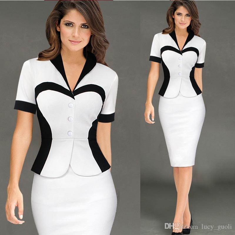 30a747bda34 2018 New Style Summer Dress White Black Patchwork Fake Two Women Stretch  Dresses V Neck Long Sleeve Casual Office Pencil Fashion Dress Dressing Style  For ...
