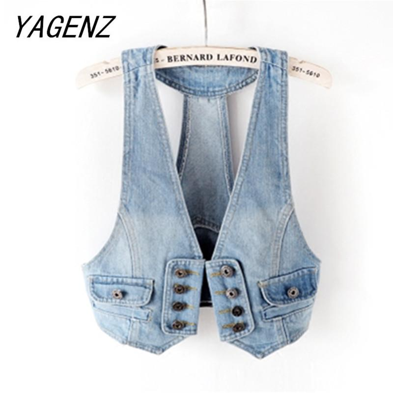 Spring Summer Autumn Sleeveless Denim Jacket Women Short Vest Coat Summer Casual Top Vintage Slim Ladies Jeans Jacket Waistcoat