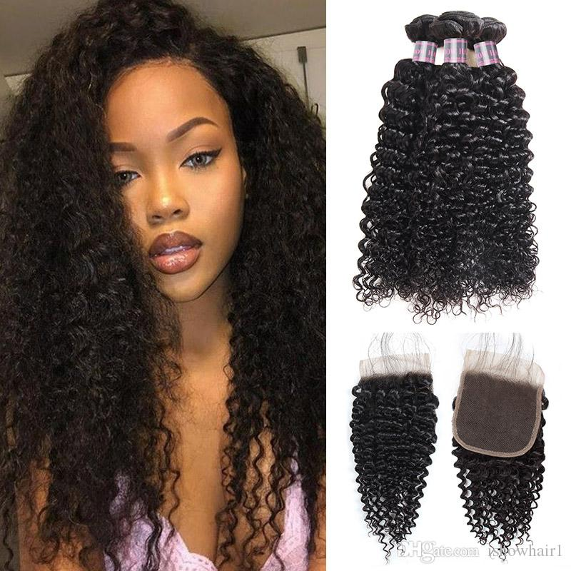 Indian Hair Kinky Curly Wave 3 Human Hair Bundles With Closure Cheap Peruvian Virgin Human Hair Wefts Wholesale Price