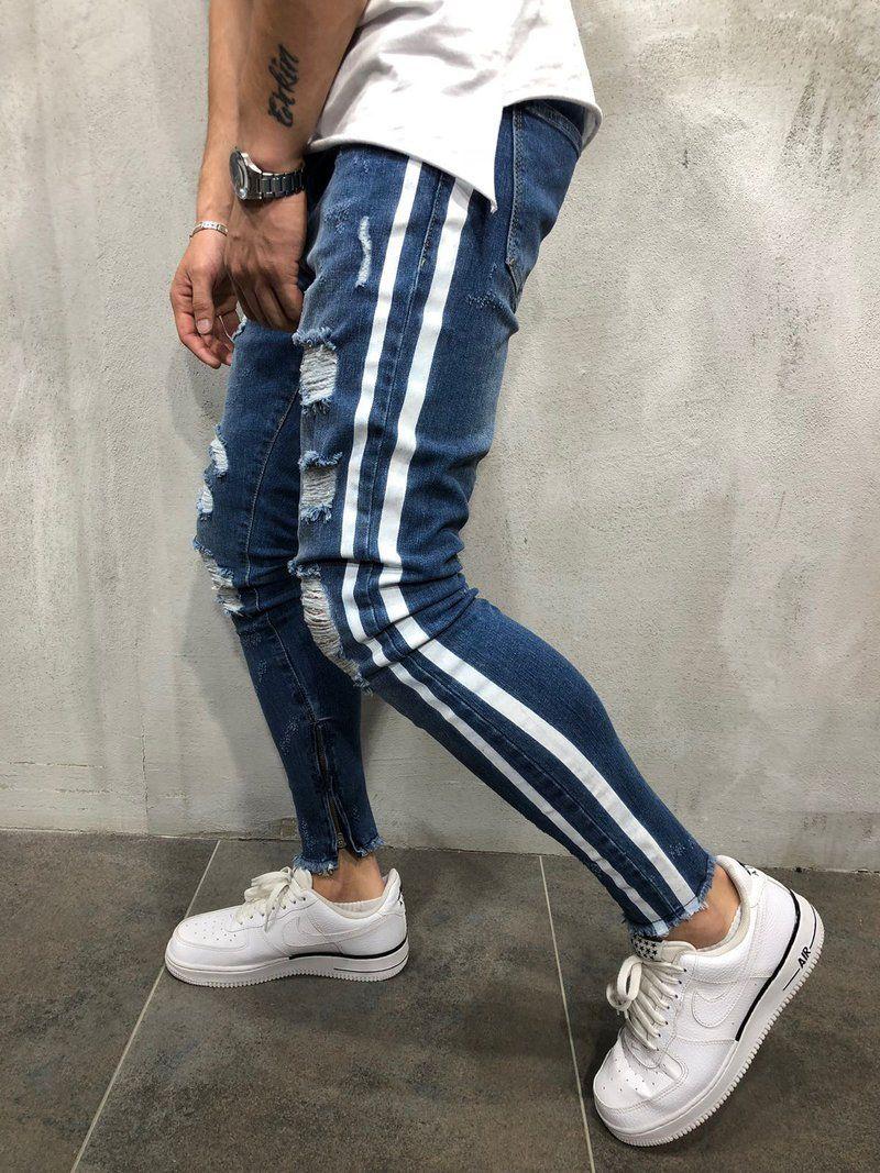 53c1e5ba97027 Compre Diseñador De Moda Para Hombre Pantalones Vaqueros De Rayas Azules Pantalones  De Mezclilla De Corte Slim Pantalones Largos De Hip Hop Tamaño S 3XL A ...