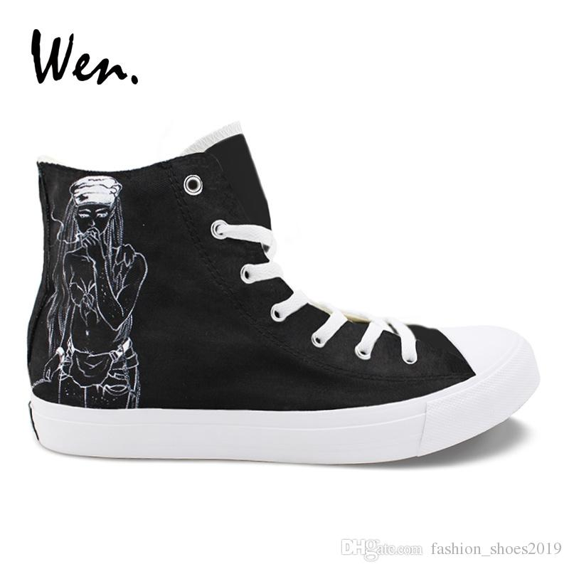 393e83fd50 Wen Hand Painted Men Shoes Death Grips Design Custom High Top Women s  Casual Canvas Sneakers for Boys Girls Christmas Gifts #209662