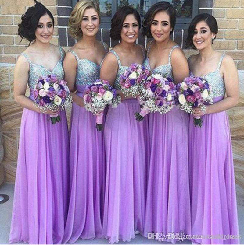bde4d95a357 Purple A Line Bridesmaid Dresses Sequins Crystals Chiffon Spaghetti Straps  With Sash Wedding Guest Party Dresses SB131 Long Black Bridesmaid Dresses  Mauve ...