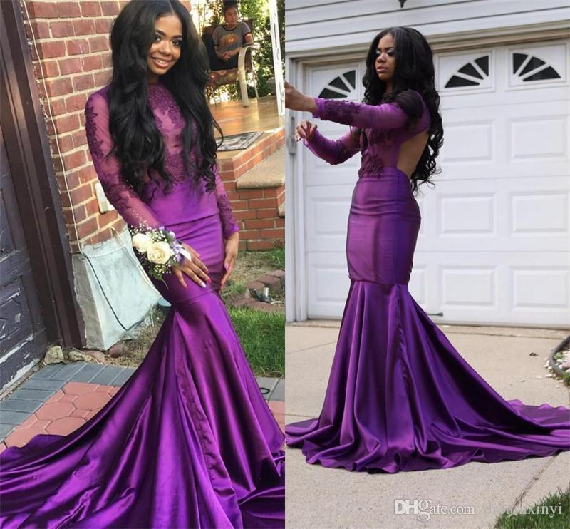 920e763b6b1 Open Back Purple Mermaid Prom Dresses 2019 New Long Sleeve Lace Applique  Beading Jewel Neck Formal Evening Dress Party Gowns Custom Made Gowns  Online Modest ...