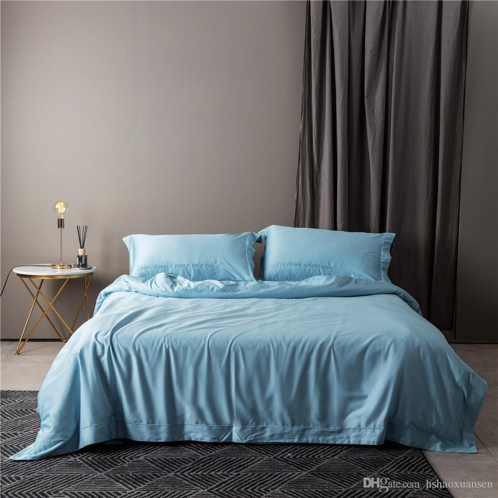 Großhandel ägyptischer Baumwolle Stickerei Wasser Blau Königin König