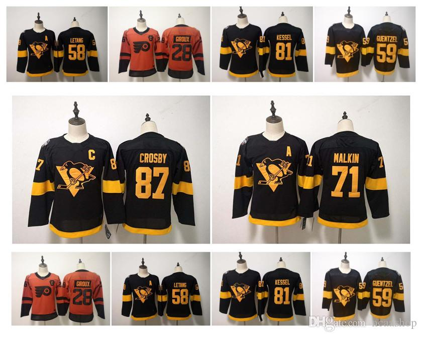 buy popular 00a66 2ce34 2019 NHL Stadium Series Jersey Kids Pittsburgh Penguins 87 Sidney Crosby 59  Jake Guentzel 71 Evgeni Malkin Kris Letang Kessel Youth Hockey