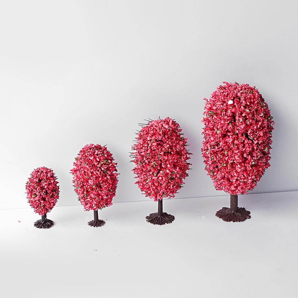 10 Pieces/lot Scale Plastic Miniature Model Flower tree For Building Trains Railroad Layout Scenery Landscape Accessories MR212