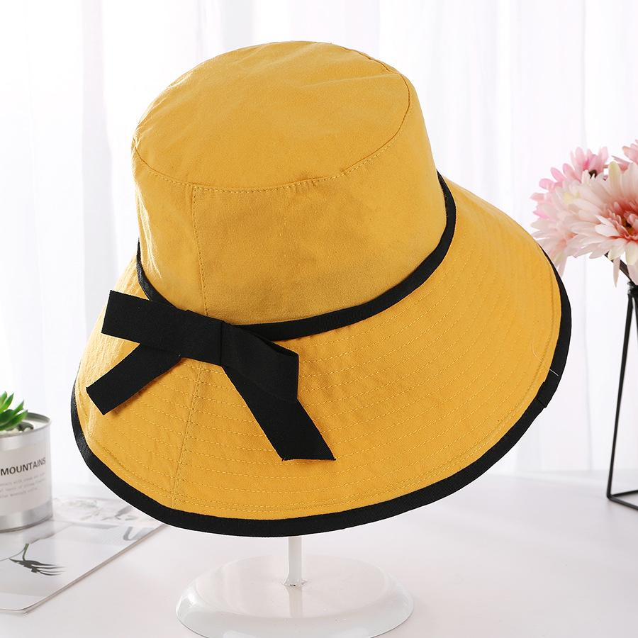 049d6f0d2 2019 New Yellow Bucket Hat Women Summer Bucket Cap Solid Color Yellow Hat  with Bow Fishing Fisherman
